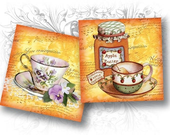 INSTANT DOWNLOAD - Tea Time 1 x 1 Inch Squares Digital Collage Sheet Download and Print