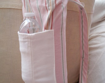 Pink Stripes Cotton  Drawstring Yoga Mat Bag