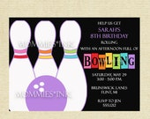 Bowling Invitation, Rainbow Bowling Invitation, Rainbow Invitation, Bowling Party Invite, Bowling Birthday Party Invitation, DIY, Printable