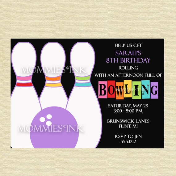 Bowling Invitation Rainbow Bowling Invitation Rainbow Invitation
