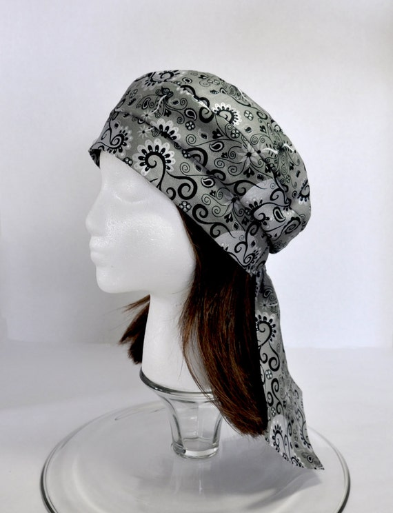 Headwrap Beret Tam - Cancer Hat Chemo Cap for Hair Loss and Alopecia- Black Silver Print