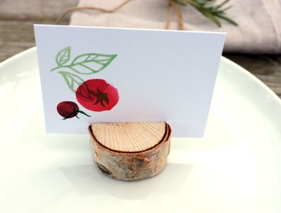 set of 6 place cards - with birch holders - herbs and tomato/basil