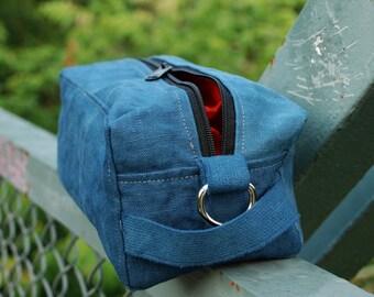 Dopp Bag of Hemp Canvas Slate Blue waterproof lining