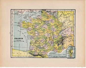 1910 france map original antique lithograph print