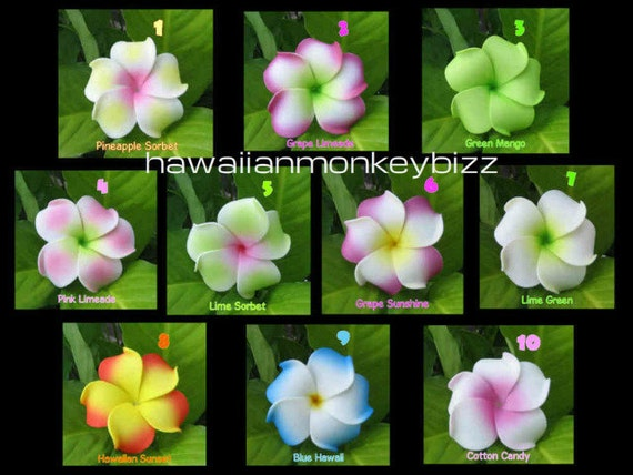 CURLY PLUMERIA - Foam Hair Picks or Clips - Your Choice of  10 . . .