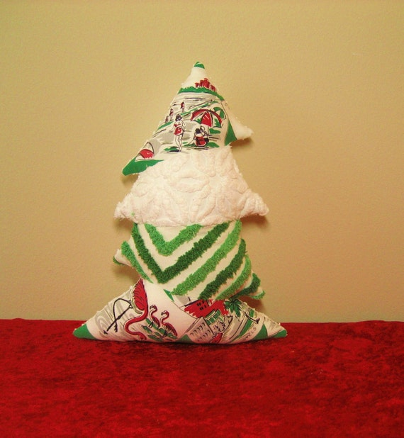 Topsy Turvy Vintage Chenille and FLORIDA Tablecloth Christmas Tree Pillow