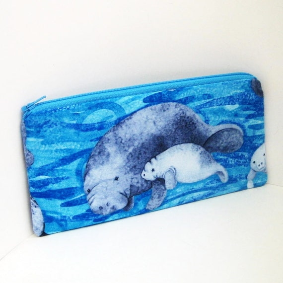 Pencil Pouch  MANATEE Zippered Bag