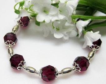 Sale Ruby Swarovski Crystal and Sterling Bracelet - Red Crystal Bracelet - July Birthstone Bracelet - Plus Size Bracelet