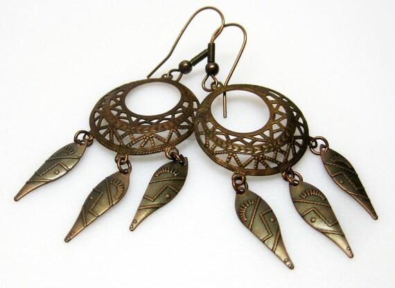 Hoop Earrings - Antique Copper - Filigree Hoops - Aztec Design - Dangle