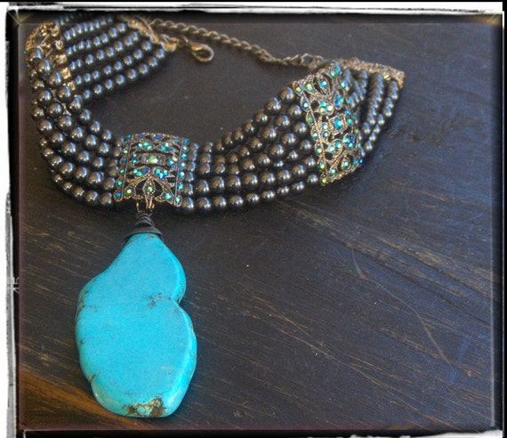 Gypsy Of The Moor. Giant Turquoise pendant , peacock pearl and rhinestone choker. Vintage Revival necklace. ooak