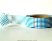 Blue Grid Washi Tape Grid with DOUBLE Thin Red Lines (Chugoku)