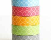 Moroccan Washi Tape Quatrefoil Pattern Wedding, Birthday Decor Packaging SET OF 5