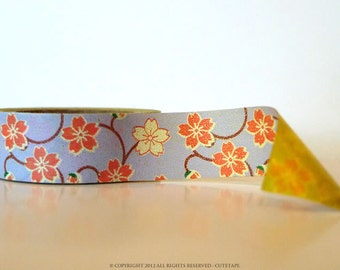 Mini Chugoku Washi Tape BLOSSOM Floral - PURPLE SINGLE