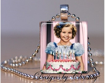 """Shirley Temple """"Happy Birthday"""" Scrabble Charm Necklace"""