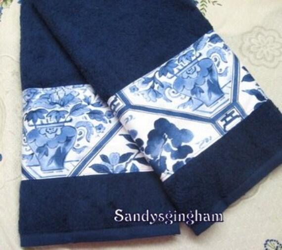Custom Decorated Navy Blue Hand Towels Ralph Lauren Fabric