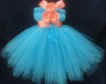 Flower Girl Dress, Little Girls Formal Dresses, Coral Turquoise Flower Girl Dress