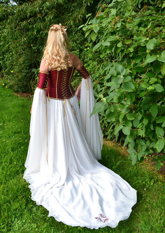 Medieval wedding gown elvish dress renaissance by frockfollies for Renaissance inspired wedding dress