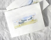 Original Handpainted Art Card Seagulls on the Beach Art