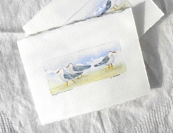 Original Handpainted Art Card Seagulls on the Beach Art