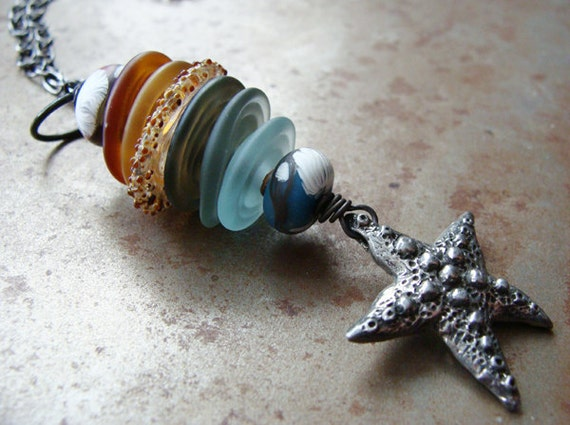 Starfish And Sea Glass Pendant Necklace
