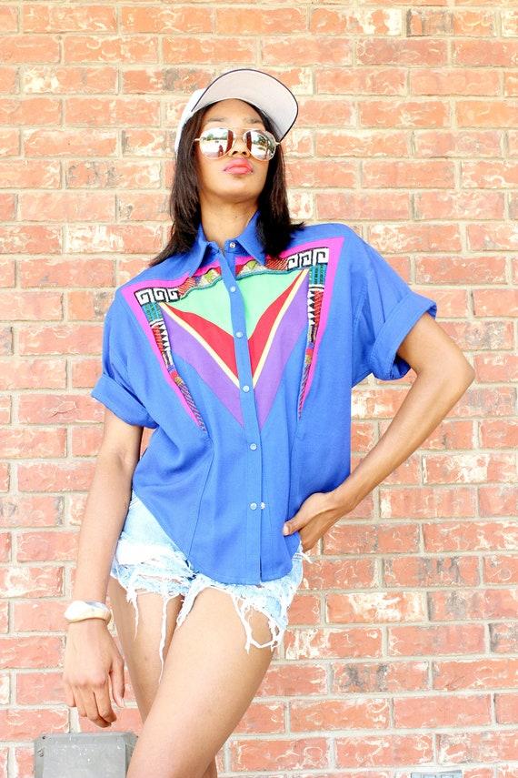 Vtg 80s Sequin Tribal Ethnic Mosaic Art Deco Rainbow Button Down Shirt S
