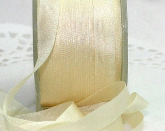 "Silk Ribbon, Ivory Silk Ribbon, 1/4"" wide Ribbon by the yard, Weddings, Invitations, Gift Wrapping, Bouquets, Scrapbooking, Sewing"