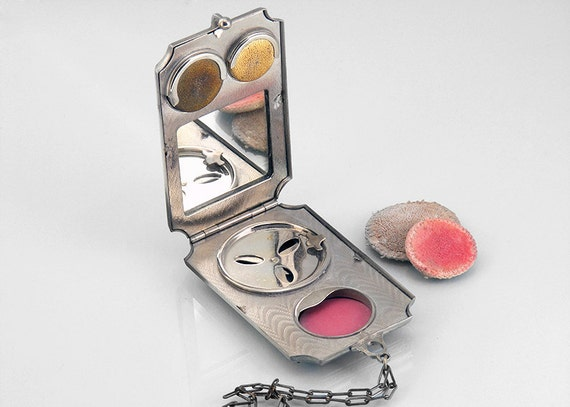 Vintage Silver Dance Compact with Rouge, Powder and Coin Holder - Edwardian Era