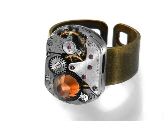 Steampunk Ring, Topaz Crystal & Vintage Watch Movement - Adjustable Ring 7 - 10