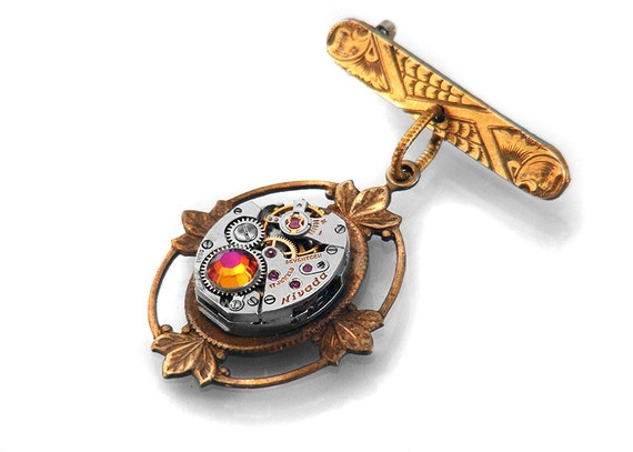 RESERVED FOR RLP - Steampunk Medal Brooch, Vintage Watch Movement & Antique Engraved Gold Bar Pin