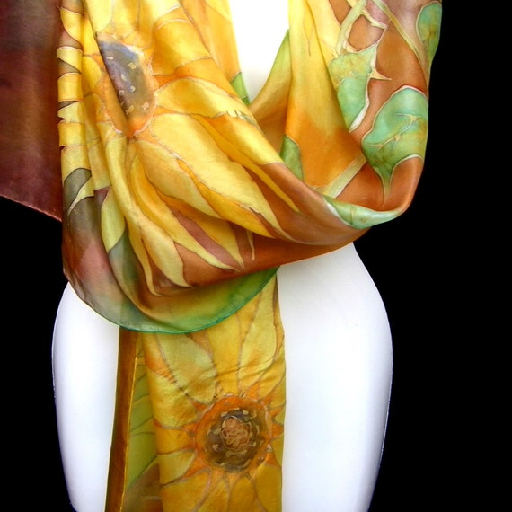 Silk Scarf Hand Painted Floral Fall Gold Yellow Sunflowers Brown Rustic