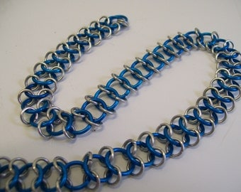 Blue and Silver Snakeskin Necklace