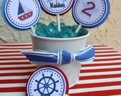 Sailboat themed Cupcake Toppers set of 12