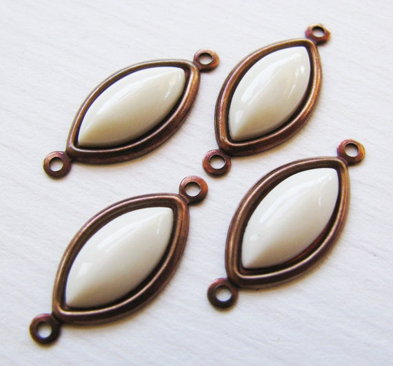 Vintage Cabochon Opaque Ivory Acrylic Navette Charm Connectors - Vintage Jewels - Hand Antiqued Brass Settings - 18mm