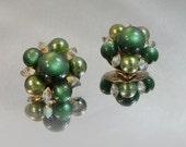 Vintage Lisner Earrings. Green Moonglow Beads. Austrian Crystals.