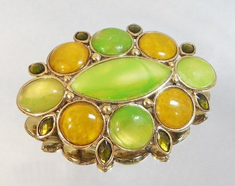 Vintage Liz Claiborne Brooch. Green and Gold Marbled Cabochons.