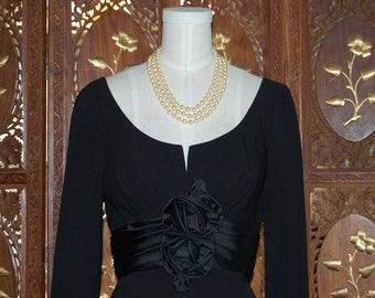 Vintage 1950s LBD Cocktail Dress with Beautiful Rosette Bows