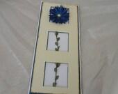 Thank You, Blue Aster Flower, 3 Panels Handmade Card