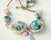 Lampwork Necklace Silver Wiring Spring Fashion Handmade Lampwork Jewelry for Mom