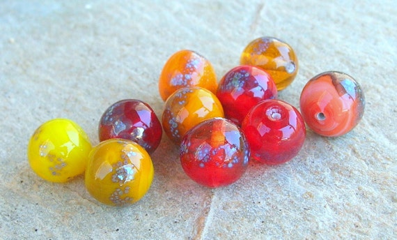 Reserved for MARIJKE - Lampwork Beads Autumn Colors September Trends