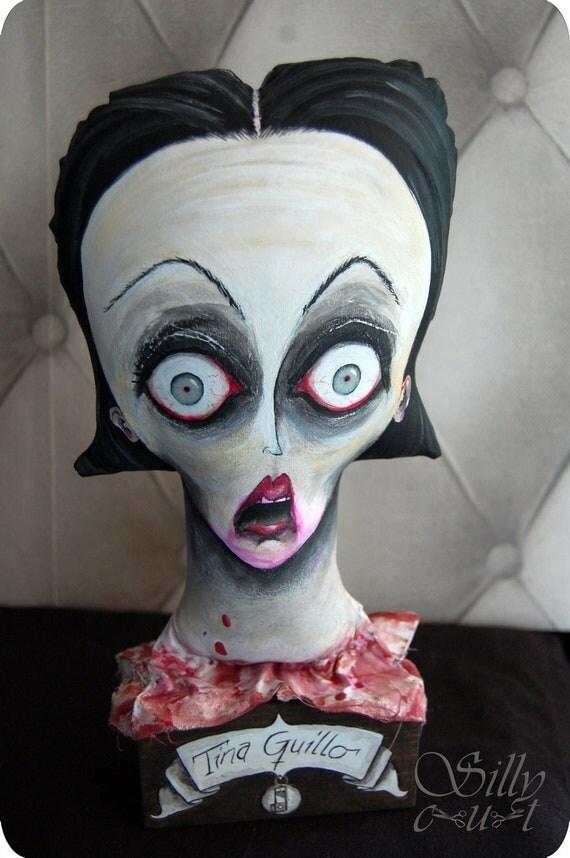Tina Guillo - art doll/bust - - soft sculpture/bust, horror, film noire, halloween, guillotine, splatter, ghost, - HANDPAINTED - - - ooak