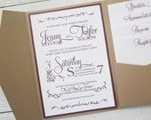 Rustic Kraft Wedding Invitation - Pocket Country Twine Purple Maroon Elegant.  Purchase this listing for a Sample.