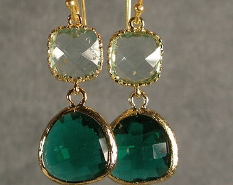 Prasiolite and Teal Green Glass Gold Earrings, Wedding Earrings, Bridesmaid Earrings, Bridal Earrings, Gold Bridesmaid Earrings (3847)