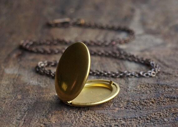 Round Gold Vintage Brass Locket Necklace