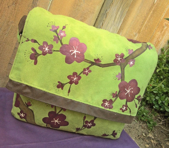 iPad and Tablet PC Case Messenger Style Foam Padded with Hand Painted Cherry Blossoms in Purple, Green and Brown
