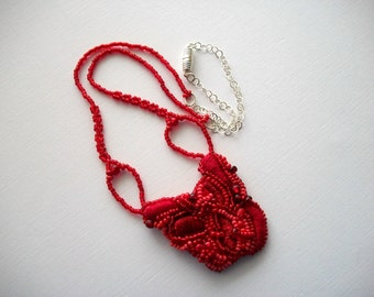 Red Mixed Media Pendant on Red Beadwoven and Silver Plated Necklace Wearable Art One of a Kind