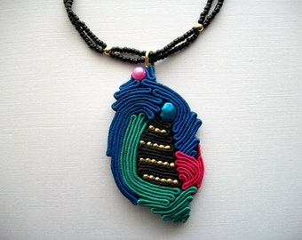 Soutache Necklace Multicolor Pendant on Black Beaded Necklace Blue and Pink Baroc Fresh Water Pearls