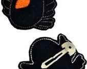 Fun Felts Raven Barette Snap Clip Covers