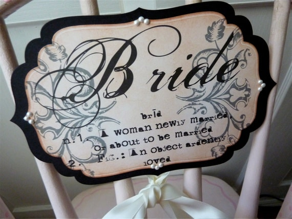 Bride and Groom Chair Signs, Wedding Decoration, Vintage Inspired, Set of Two
