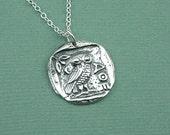 Athena Owl Necklace - sterling silver athena coin jewelry - owl necklace - greek goddess jewellry