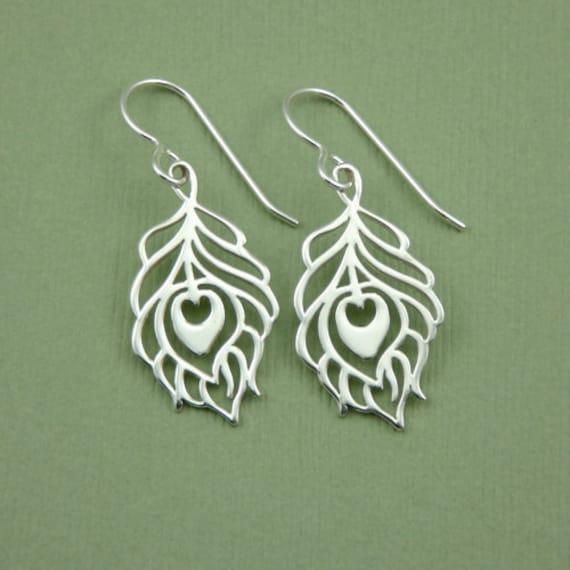 Peacock feather Earrings  - sterling silver feather earrings, womens french hook earrings, bird jewelry